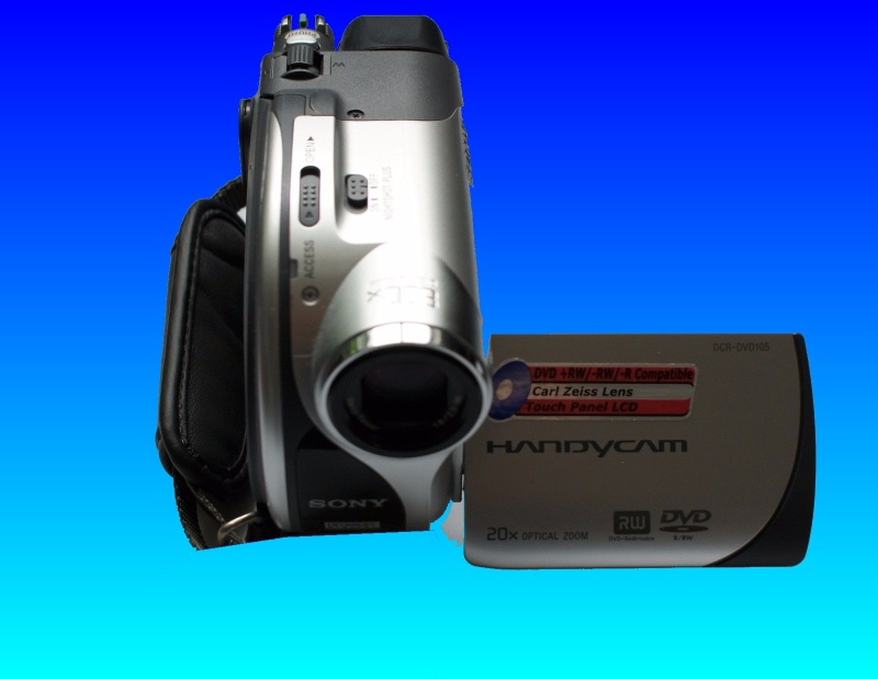 A Sony DCR-DVD105E Handycam viewed from above with it's display screen opened.