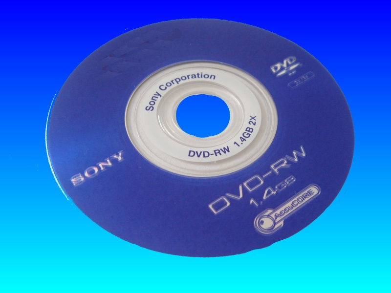 A Sony DVD-RW disk received in our video recovery lab. The customer advised that due to vibration the handycam had trouble finalising the disc.