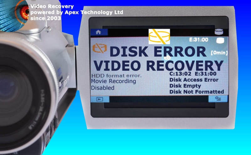 We Recover Video after error message on Handycam Camcorder Camera DVD HDD HD c1302 e3100 movie recording disabled rec disk empty not formatted access disc
