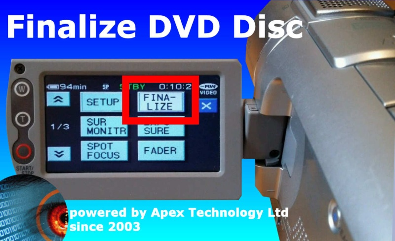 We finalize mini DVD disc from Camcorder Handycam and recover video when DVD is not finalized. We can finalise mini disc, finalise mini DVD Disks ,finalise dvd