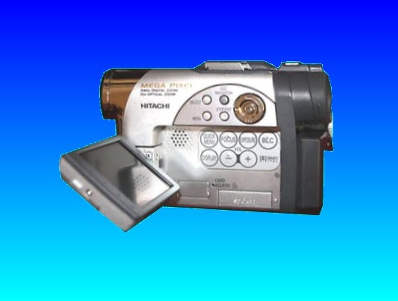 An Hitachi Camcorder which uses mini dvd for recording video. The lcd display showed the