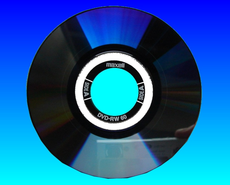 A Maxell DVD-RW that was from a Sony Handycam (DCR-DVD110E). The disc is shown against a blue background with the recording layer visible. The disc is 8cm in diameter.