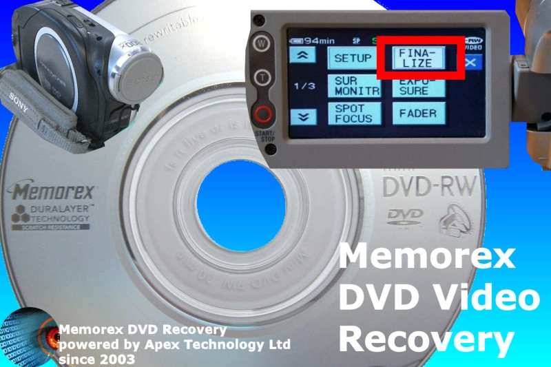 Memorex dvd mini disc finalize for playback after format or c1302 error