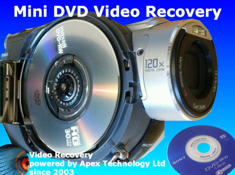We Recover Video from Handycam Camcorder Camera mini DVD discs finalize c1302 movie recording disabled rec disk empty blank not formatted access disc error