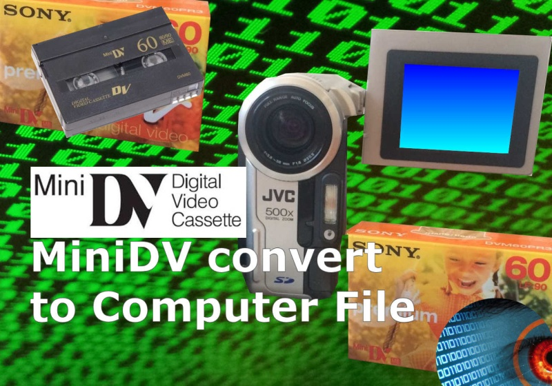 We transfer MiniDV tapes to hard drive digital file convert to mpg mp4 mpeg2 for computer playback Apple Mac Windows PC Tablet Samsung Galaxy smart phone iPad