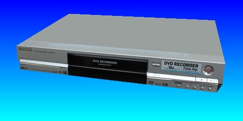 A Panasonic DMR Video recorder is photographed against a blue background and at an agle to the camera. This was model DMR-EX and had a failure of it's hard drive.