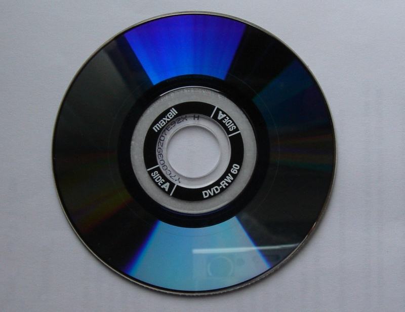 A Maxell DVD used in Panasonic Camcorder VDR100. The disk is double sided which sometimes causes trouble with Side B not playing or unusable after recording the video.