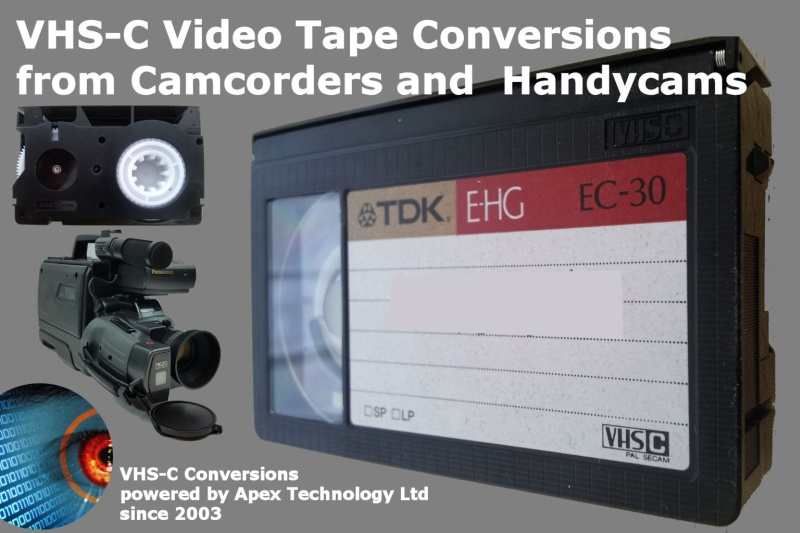 Transfer camcorder VHS-C tapes to DVD or mpeg digital computer files.