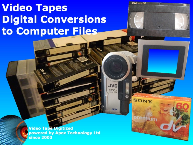 We transfer and convert Video Cassette Tapes to digtal files for playback on computer, phones, laptops iPad iPhone smart phone Samsung Galaxy notebook netbook