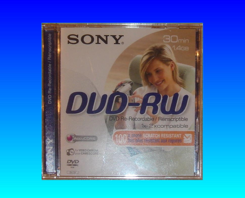 A Sony DVD-RW disk in its plastic cover. This disk is quite a common one to be sent to us for data recovery - especially after C:13:02 error while finalizing in the Handycam.