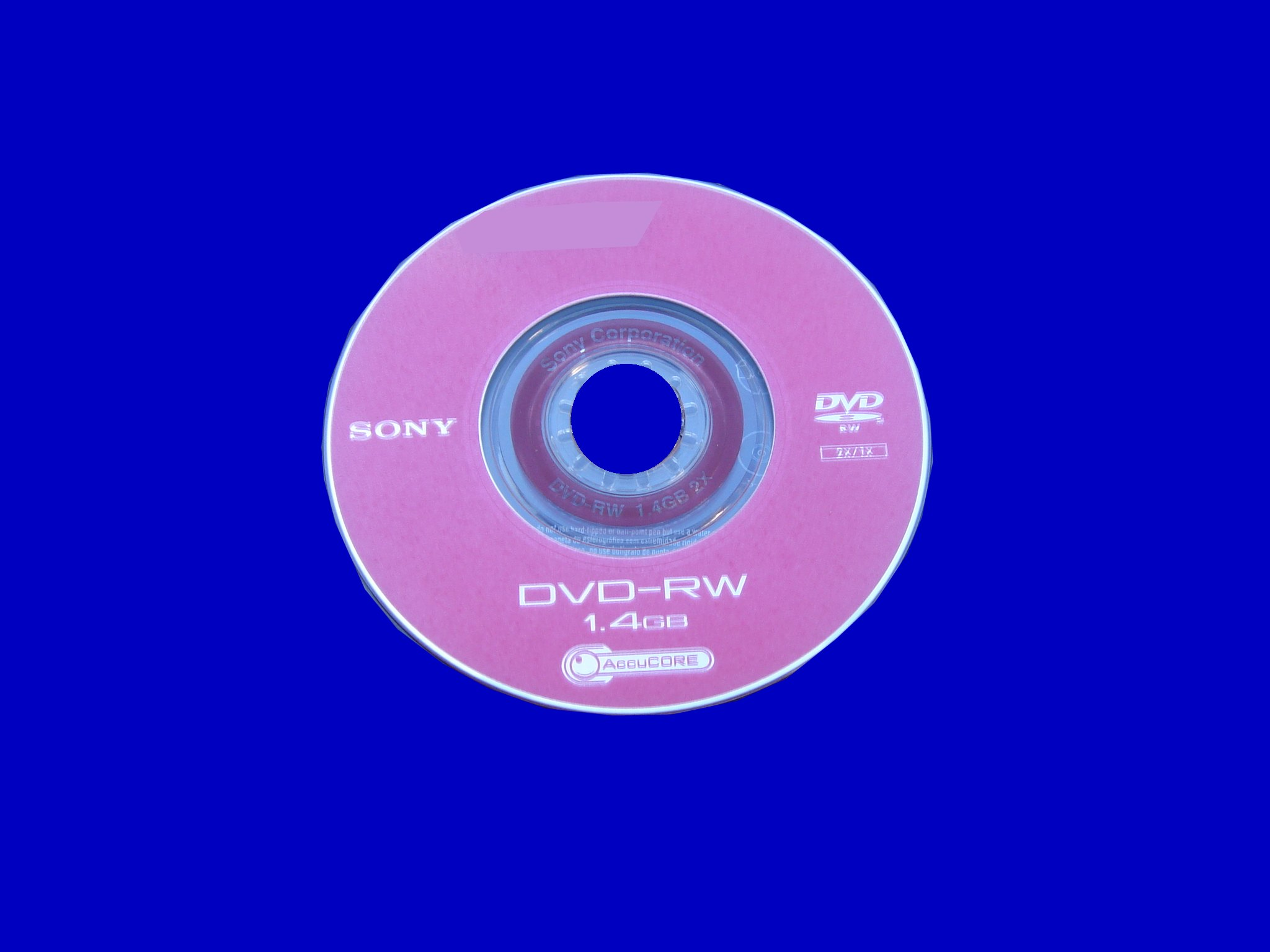 A Sony pink DVD-RW 8cm disk used in the camcorder but displayed error message during playback.