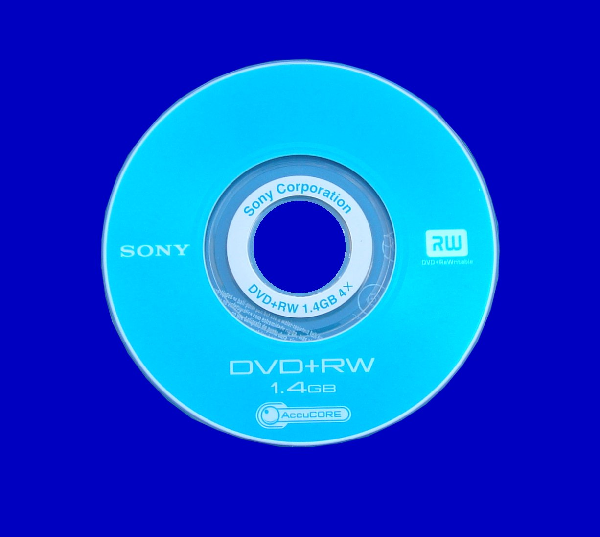 This Sony ReWritable DVD+RW was formatted and appeared empty in the camera.