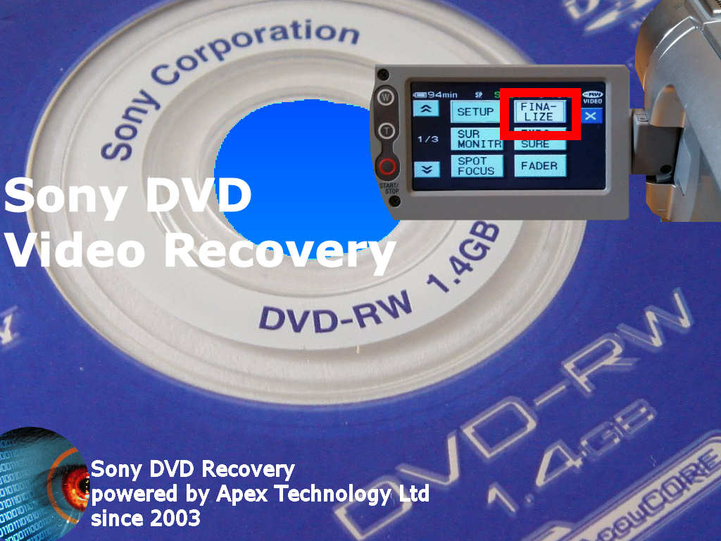 Sony finalize dvd-r dvd-rw dvd+rw empty blank disc recover video