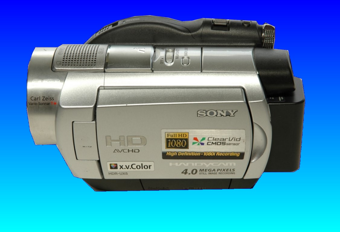 A Sony HD handycam that was sent for us to recover the AVCHD video from the Hard Disk Drive. This particular camera has 1080i High Definition video recording quality with Sony model number HDR-UX5.