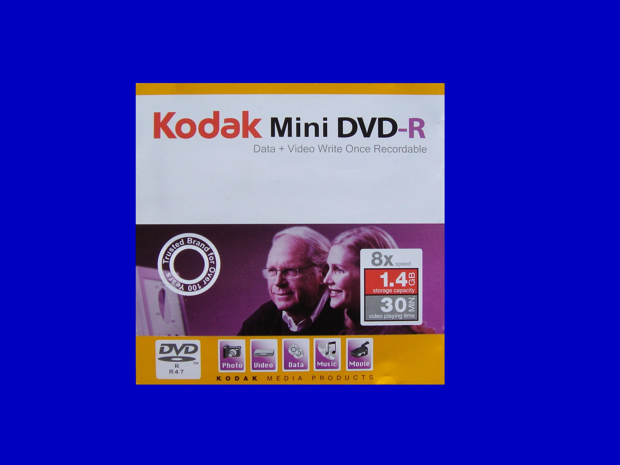 A Kodak mini DVD-R disk that was from a Sony Handycam DCR-DVD205. The disk failed to be finalized and showed C1302 error.