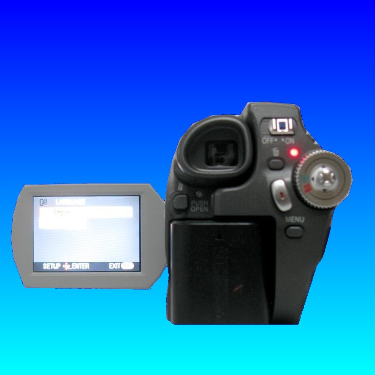 A mini dvd camcorder shown with it's lcd screen display open. When dropped Panasonic cameras have reported trouble with corrupt data and that the camera will attempt to repair the video disk. Afterwards the disk is not recognised and won't playback footage or movies.