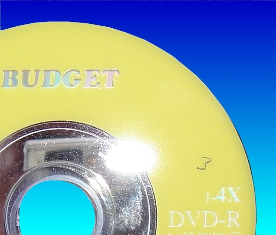 A Budget branded DVD-R disk that had trouble while finalizing the disc.