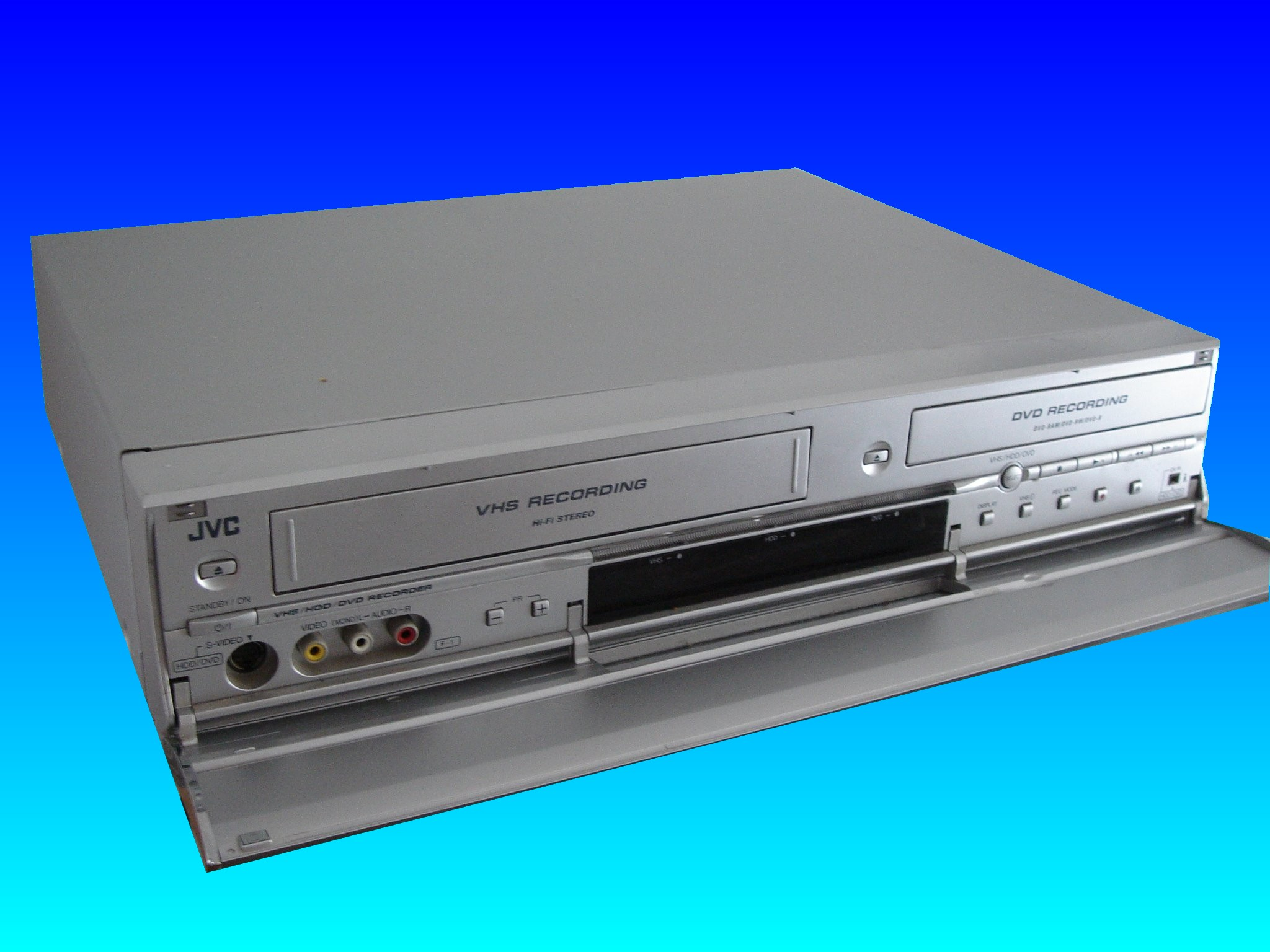 A JVC DR-MX1S Hard Drive Video Recorder which had developed a loading error when powered up. The fault was to do with the power board which malfunctions when turned on. The customer therefore sent it to us to recver the videos to DVD.
