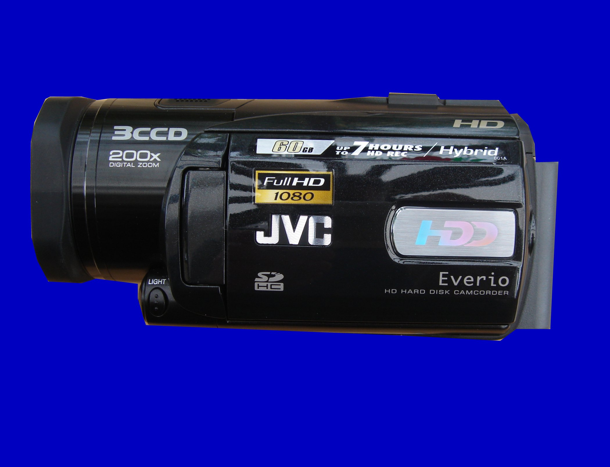A JVC Everio with HDD error on the screen. This camera had model number GX-HD3EK  and could not access the video clips for playback.