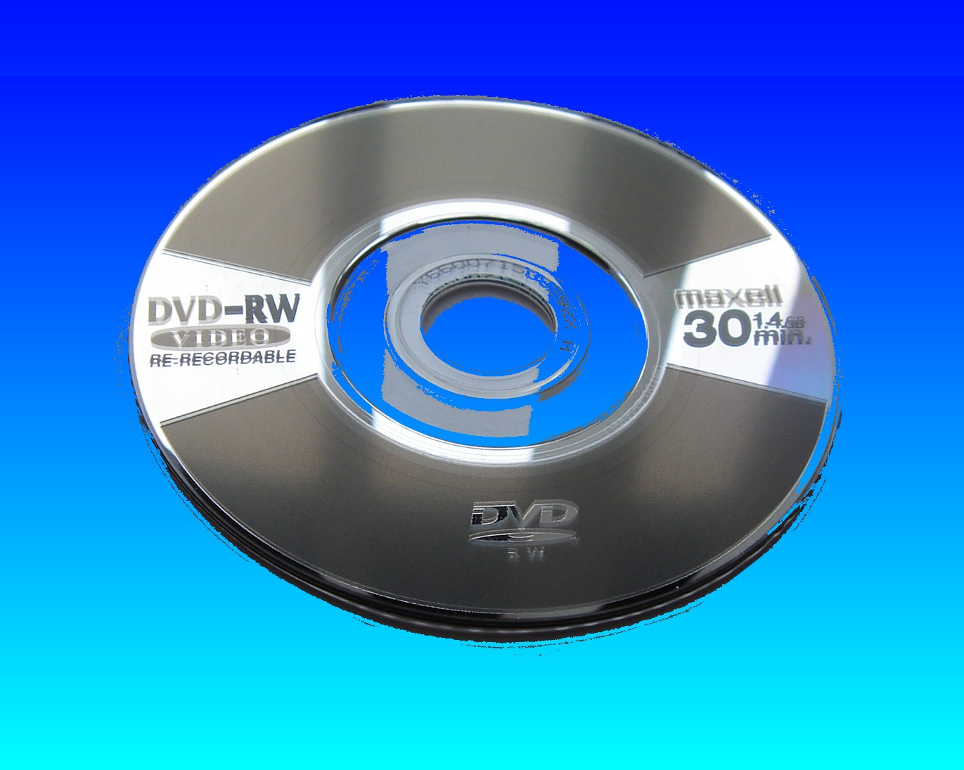 A Maxell DVD-RW mini disc that failed to finalise in the camera. The disk arrived at out offices to restore the lost video clips.