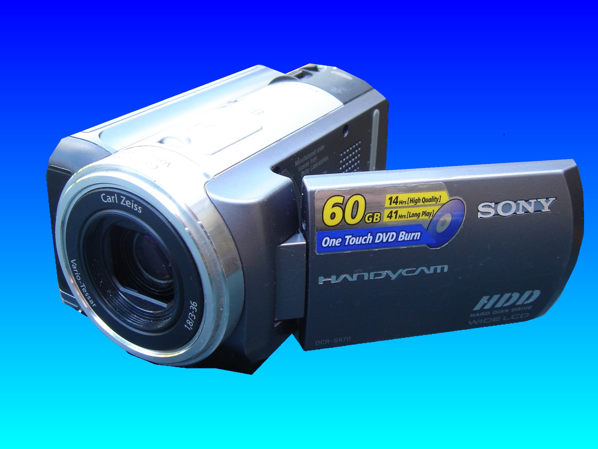 A Sony Handycam HDD model number DCR-SR70 which the owner accidentally deleted all the images of the video clips. The lcd display screen is shown slightly open.