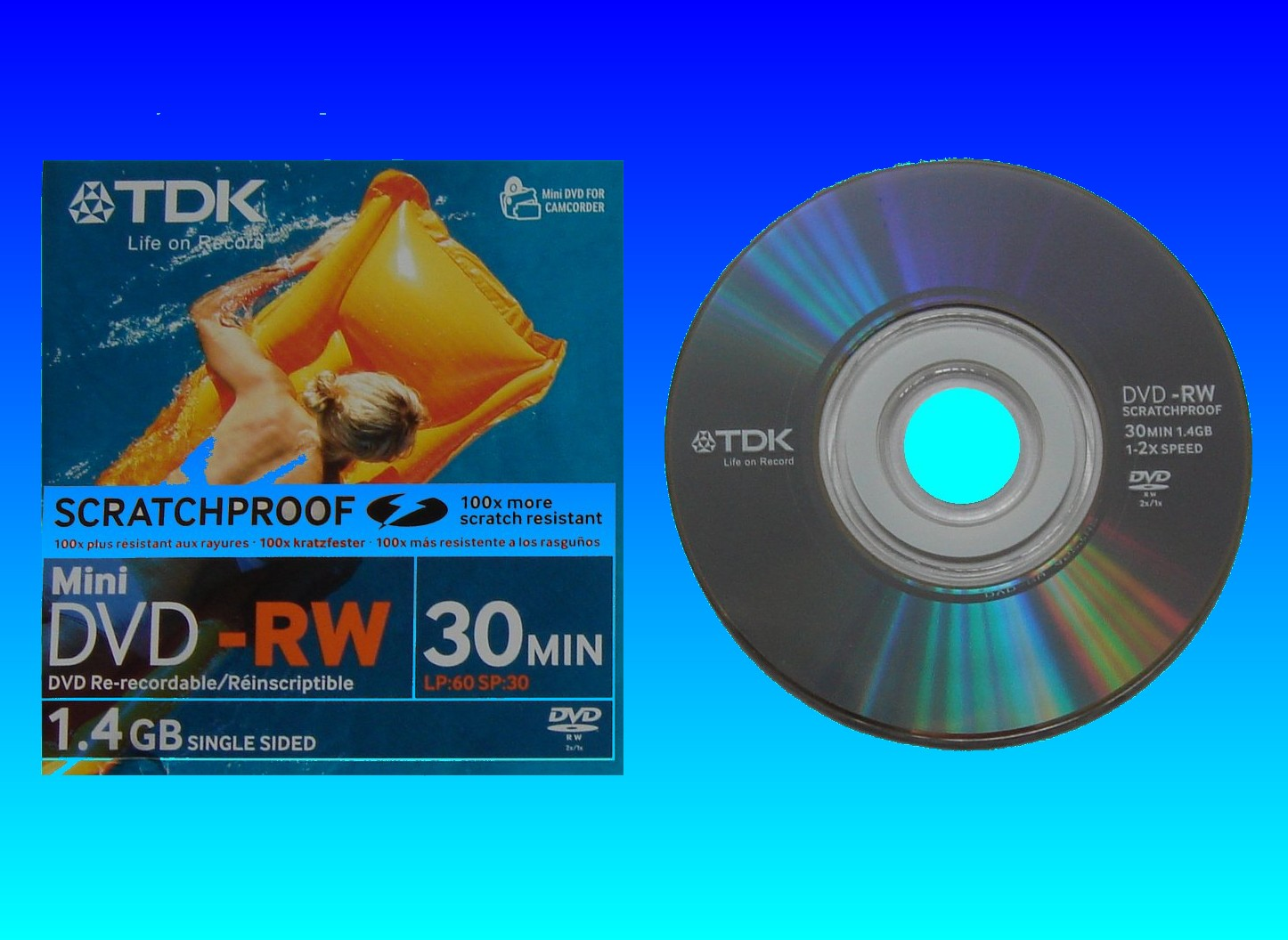 A TDK DVD-RW that lost all its previously recorded video after a message was displayed on the camcorder to repair disc and reset device.