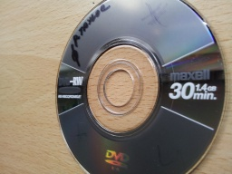 A DVD that appeared blank after a Panasonic camcorder was dropped. This disk is a Maxell DVD-RW 1.4gb 30mins.