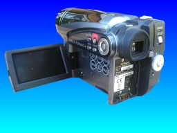 An Hitachi DZ-HS500E camcorder in for recovery of video from the hard disk drive. The camera is shown with it's viewfinder panel open against a blue background.