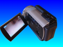 A Sony DCR-SR37E handycam with the lcd display screen open and showing the video being recorded. This camera had the thumbnail images lost while trying to playback the video clips.