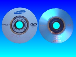 A Samsung DVD-RW and Sony DVD-R disk with their labels showing. The discs had been reformatted by accident and then sent to us to recover the video data.