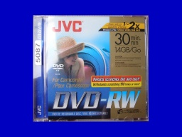 A DVD-RW disk made by JVC that would not finalize in the camera and needed the video recovering. The disc is still in it's case.
